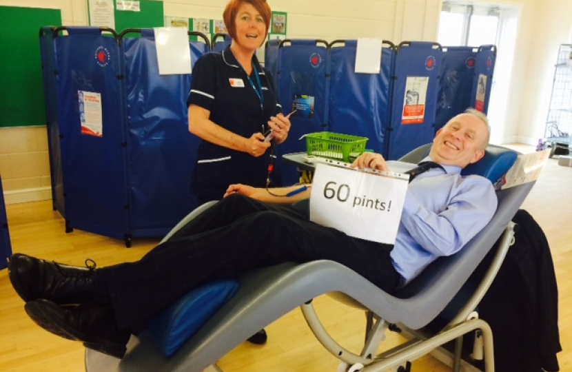 Graham donating his 60th pint of blood.